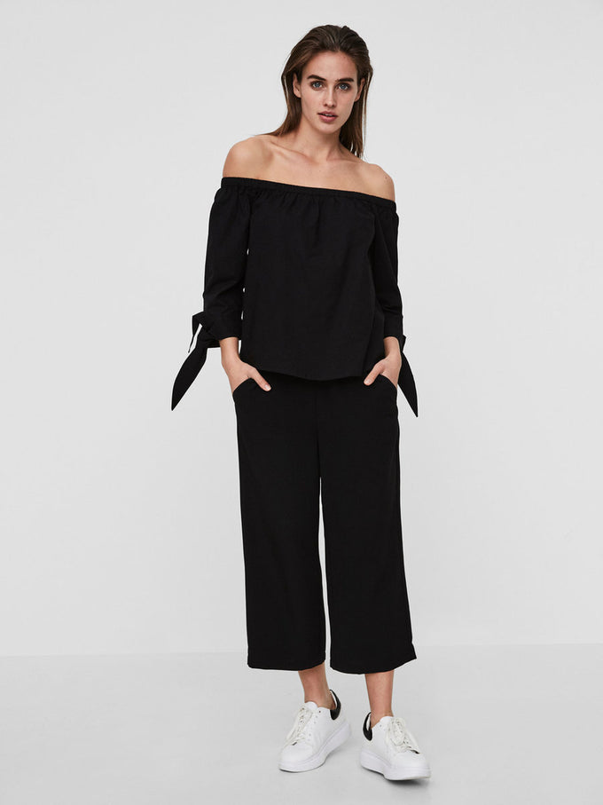 OFF-THE-SHOULDER 3/4 SLEEVE BLOUSE BLACK