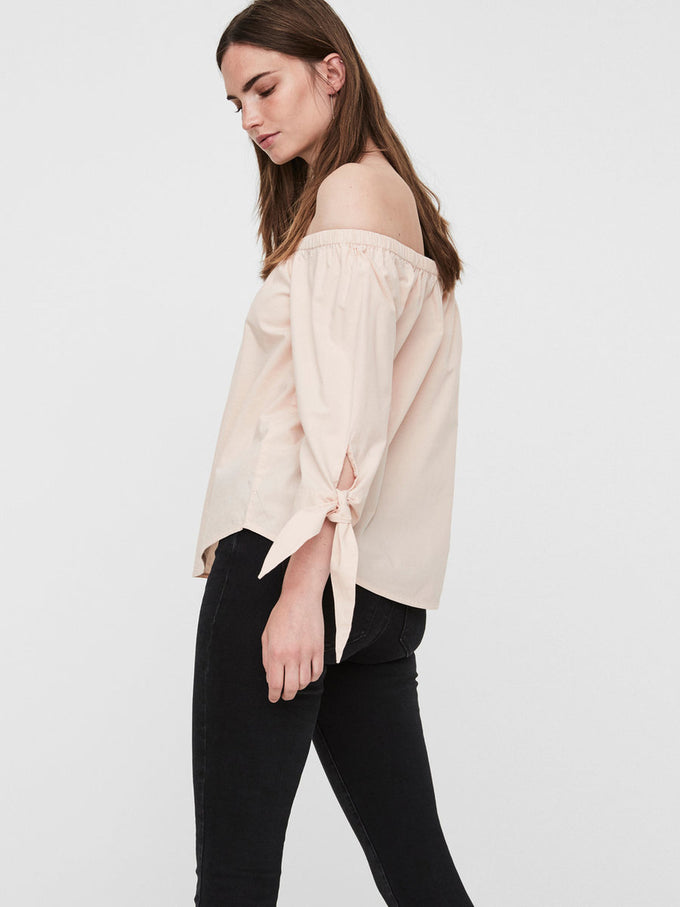 OFF-THE-SHOULDER 3/4 SLEEVE BLOUSE CAMEO ROSE
