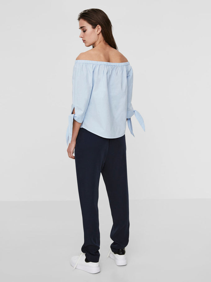 OFF-THE-SHOULDER 3/4 SLEEVE BLOUSE CASHMERE BLUE