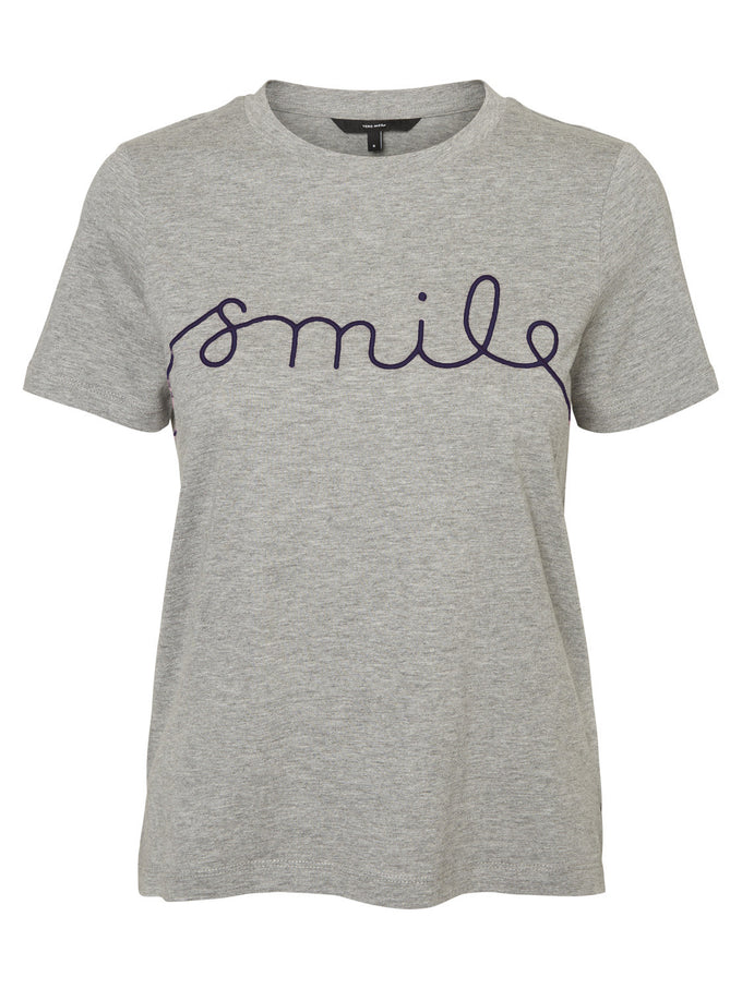T-SHIRT WITH EMBROIDERY DETAIL LIGHT GREY MELANGE