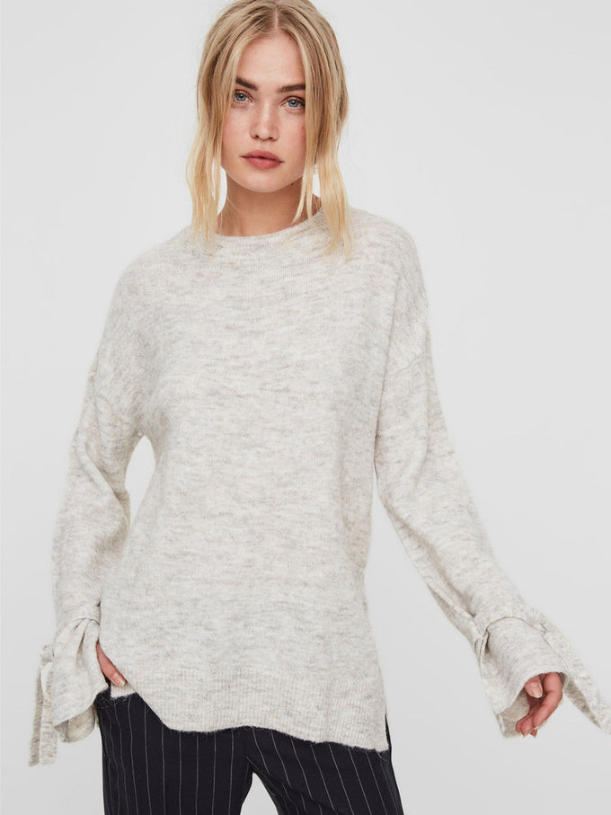 ALPACA WOOL SWEATER LIGHT GREY MELANGE