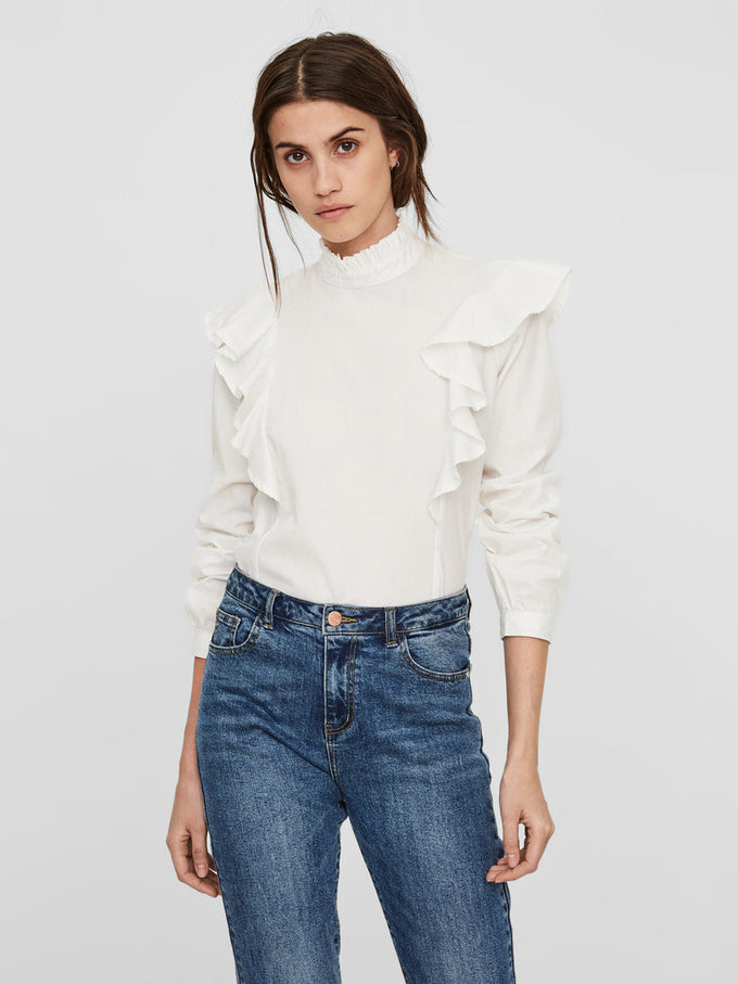 LONG SLEEVE BLOUSE WITH FRILLS SNOW WHITE