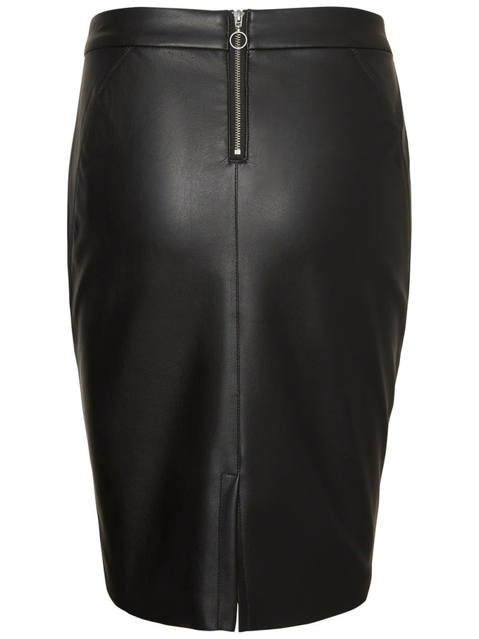FAUX-LEATHER PENCIL SKIRT BLACK