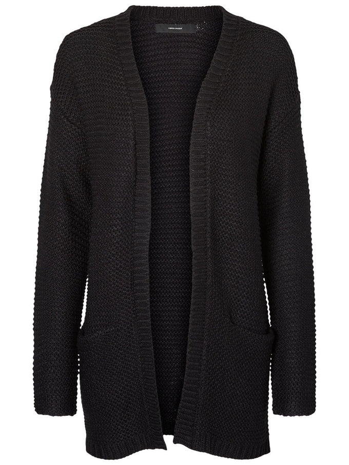 LONG KNITTED CARDIGAN BLACK