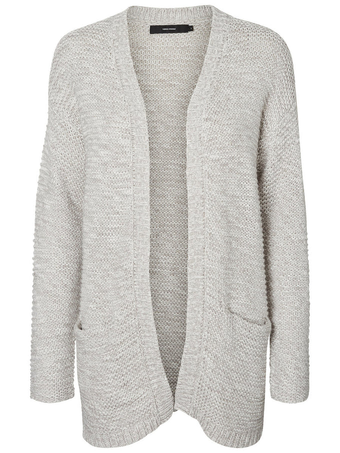 LONG KNITTED CARDIGAN LIGHT GREY MELANGE
