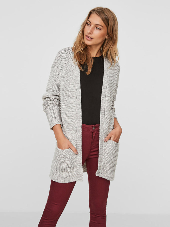 LONG CARDIGAN EN TRICOT GRIS PALE