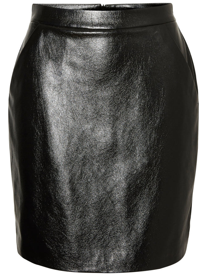 PATENT FAUX-LEATHER SKIRT BLACK