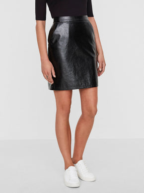 PATENT FAUX-LEATHER SKIRT