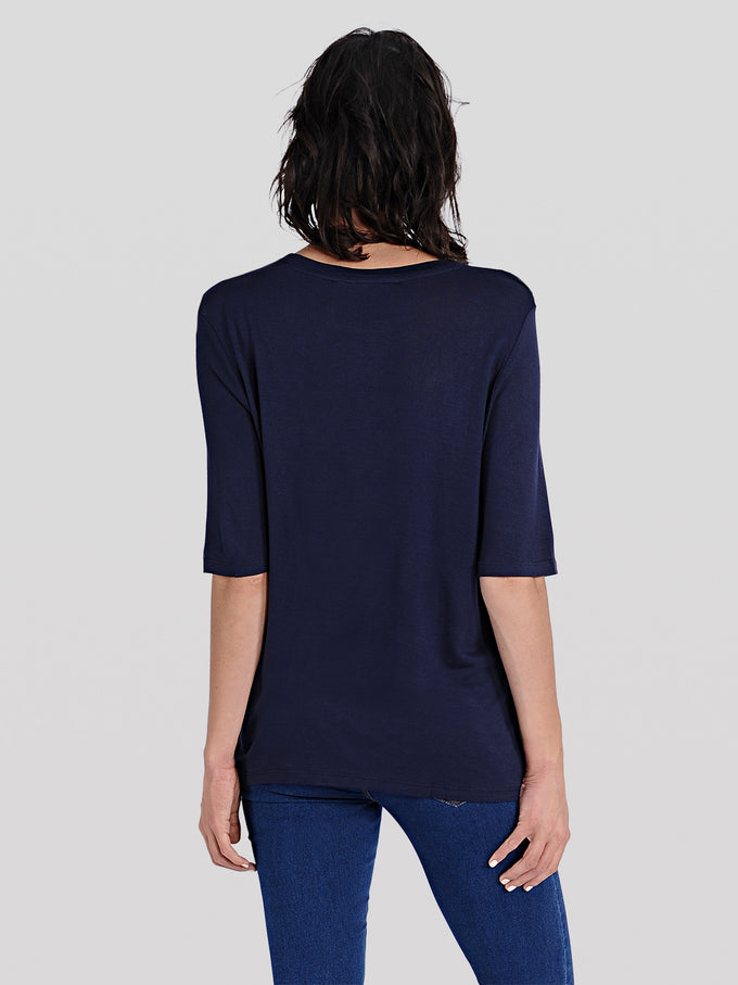 FRILLED SHORT SLEEVE T-SHIRT NAVY BLAZER