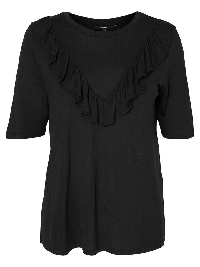 FRILLED SHORT SLEEVE T-SHIRT BLACK
