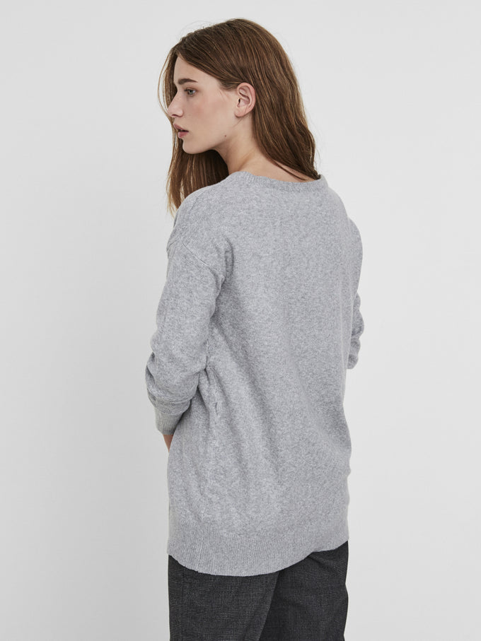 LONG OVERSIZED SWEATER LIGHT GREY MELANGE