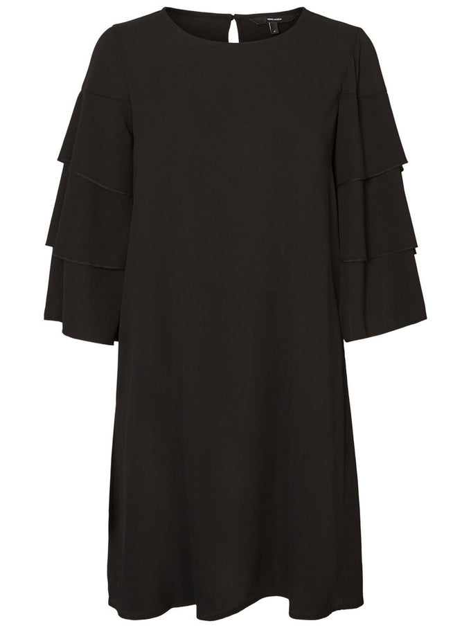 RUFFLED 3/4 SLEEVE DRESS BLACK