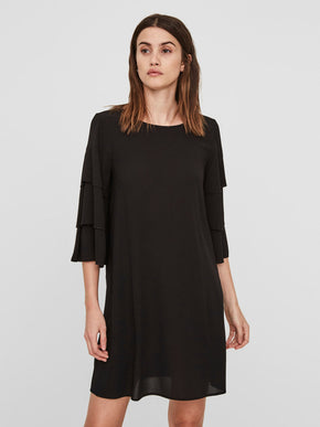RUFFLED 3/4 SLEEVE DRESS