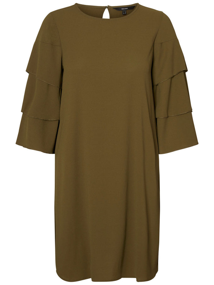 RUFFLED 3/4 SLEEVE DRESS DARK OLIVE