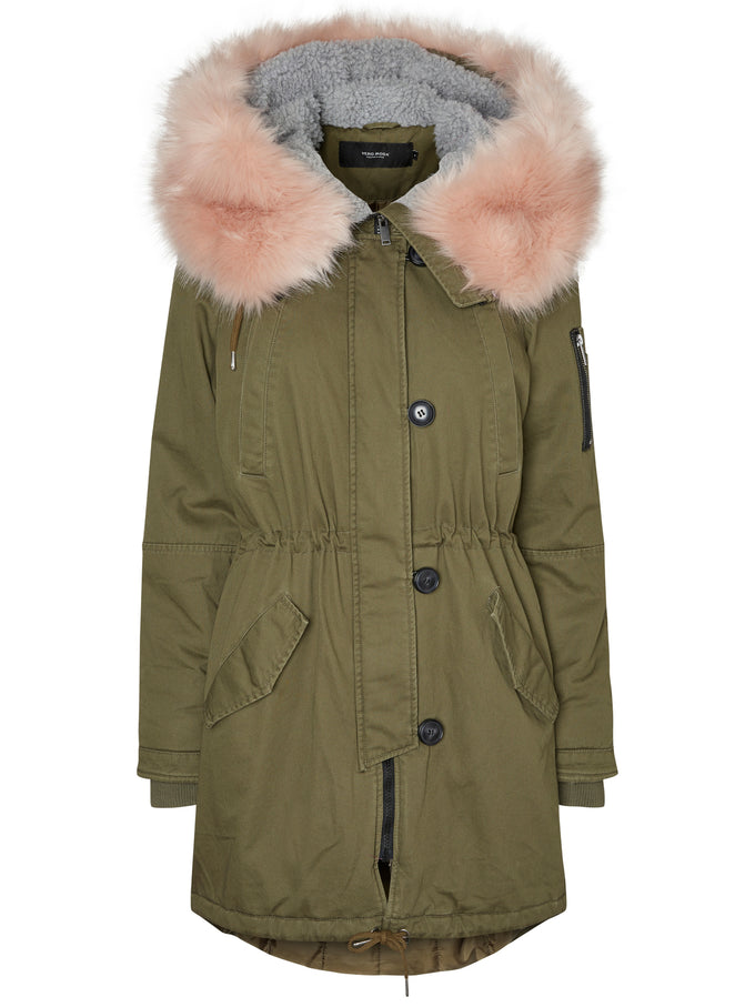 LONG PARKA WITH PINK FAUX FUR IVY GREEN