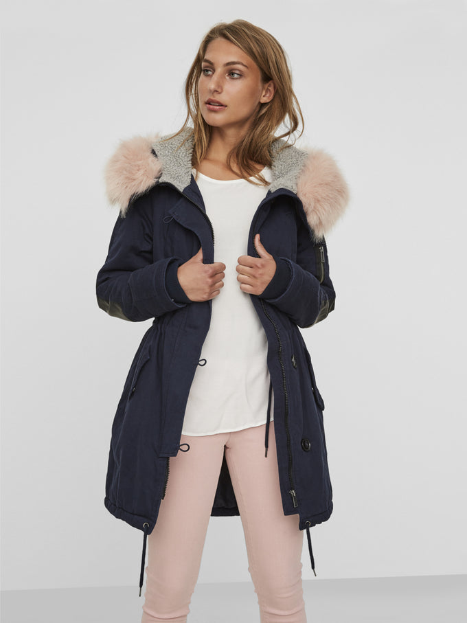 LONG PARKA WITH PINK FAUX FUR NAVY BLAZER