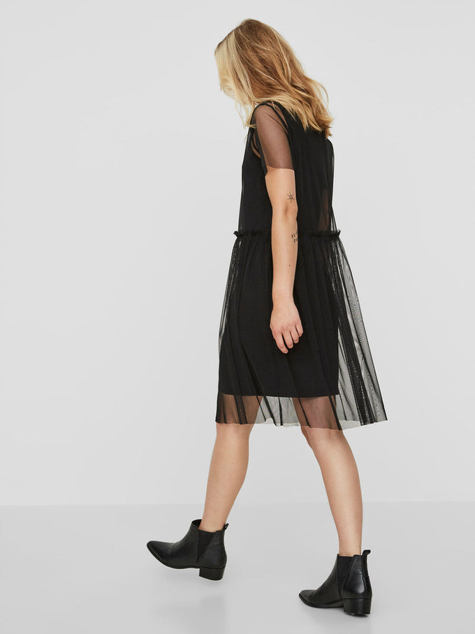 SHORT SLEEVE MESH DRESS BLACK