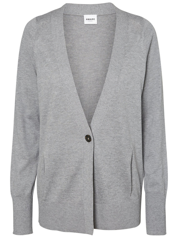 SOLID CARDIGAN LIGHT GREY MELANGE