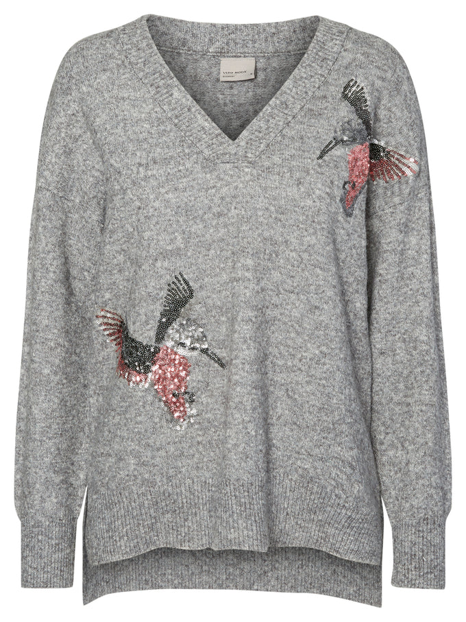 EMBROIDERED HIGH-LOW SWEATER MEDIUM GREY MELANGE