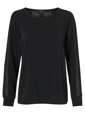 LONG SLEEVE BLOUSE WITH SEE-THROUGH BACK