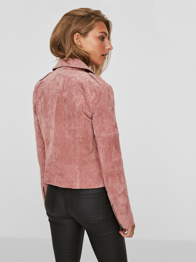 PINK REAL SUEDE MOTO JACKET ASH ROSE