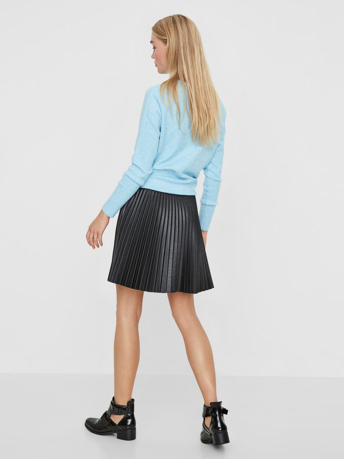 FAUX-LEATHER PLEATED SKIRT BLACK