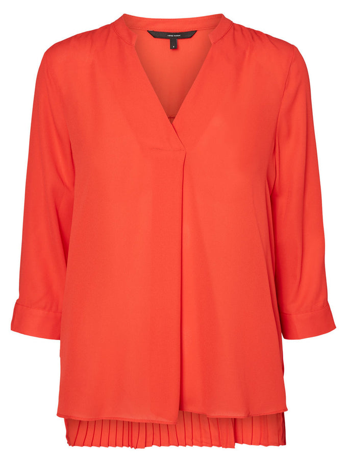 HIGH-LOW PLEATED BLOUSE FLAME SCARLET