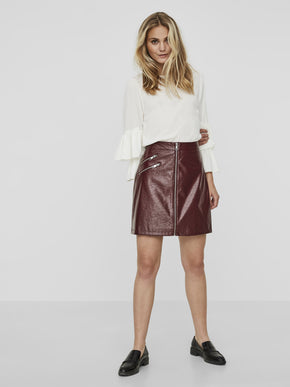 ZIPPED FAUX-LEATHER SKIRT