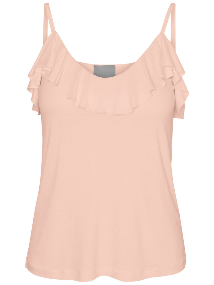 CAMISOLE À VOLANTS ROSE