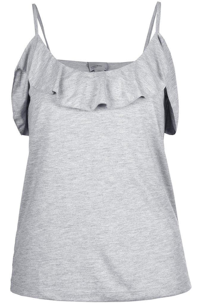 FRILLED CAMI LIGHT GREY MELANGE