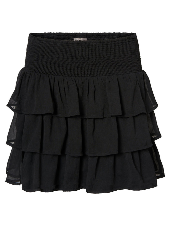 RUFFLED SHORT SKIRT BLACK