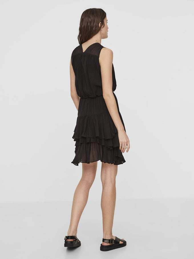 RUFFLED SHORT DRESS BLACK