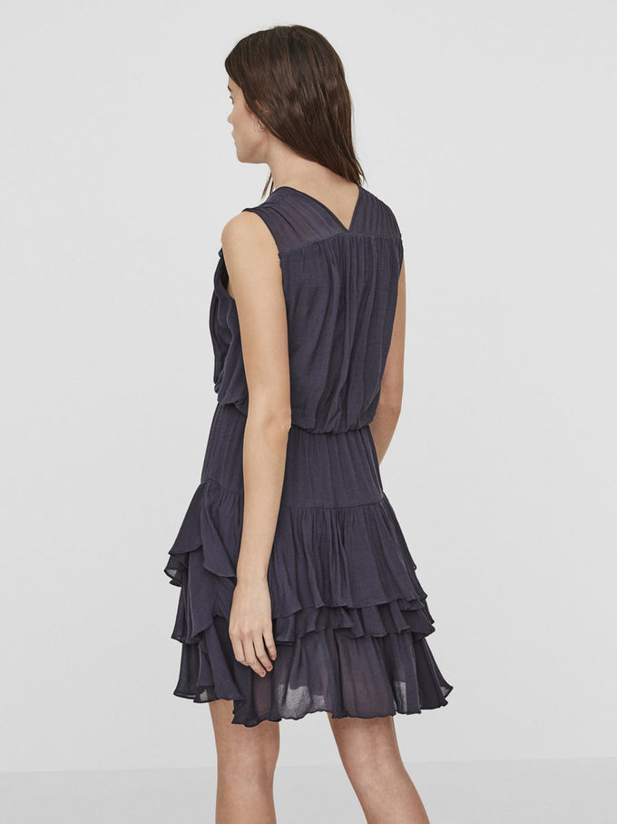 RUFFLED SHORT DRESS OMBRE BLUE