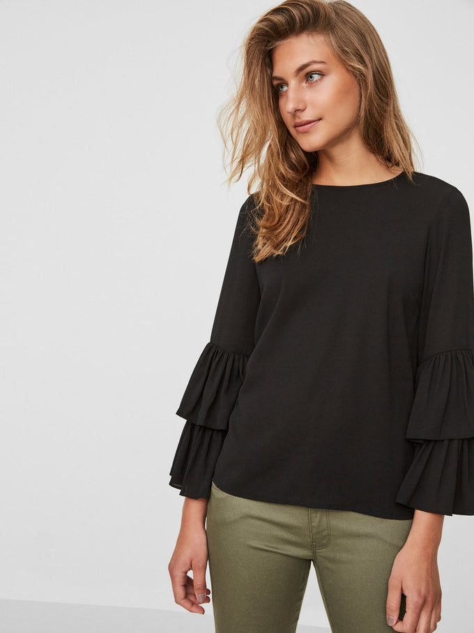 DOUBLE FRILLS BLOUSE OLIVE