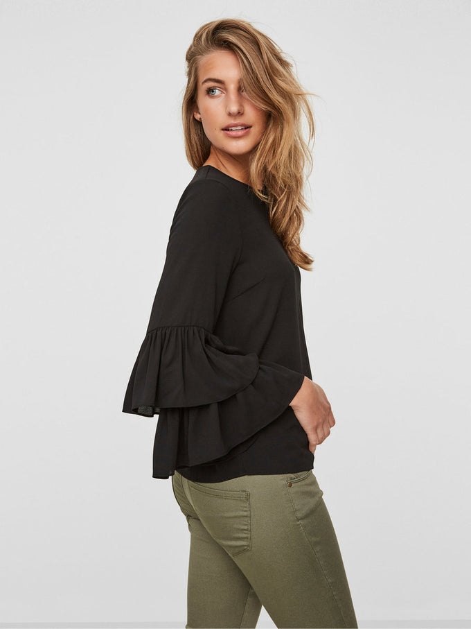 DOUBLE FRILLS BLOUSE BLACK