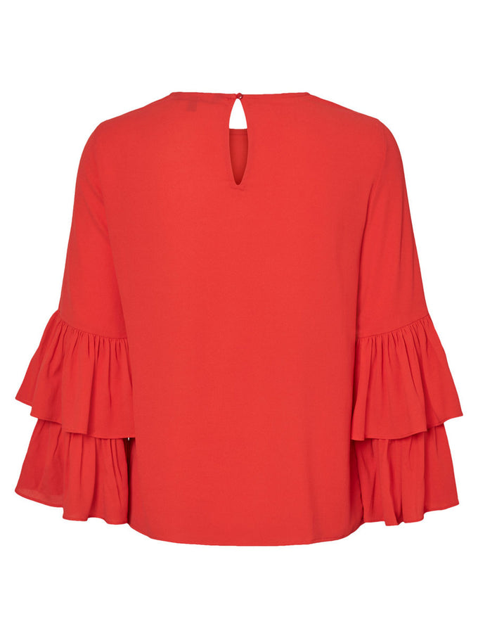 DOUBLE FRILLS BLOUSE FLAME