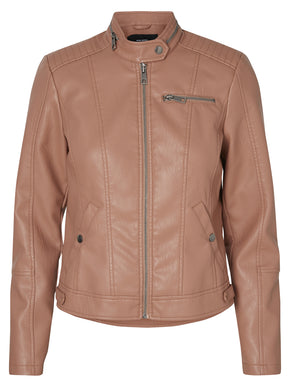 PINK FAUX-LEATHER MOTO JACKET