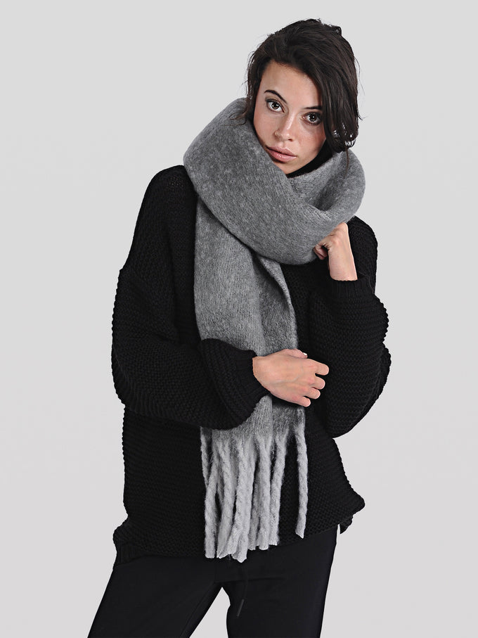 FOULARD LONG COLORÉ GRIS MOYEN
