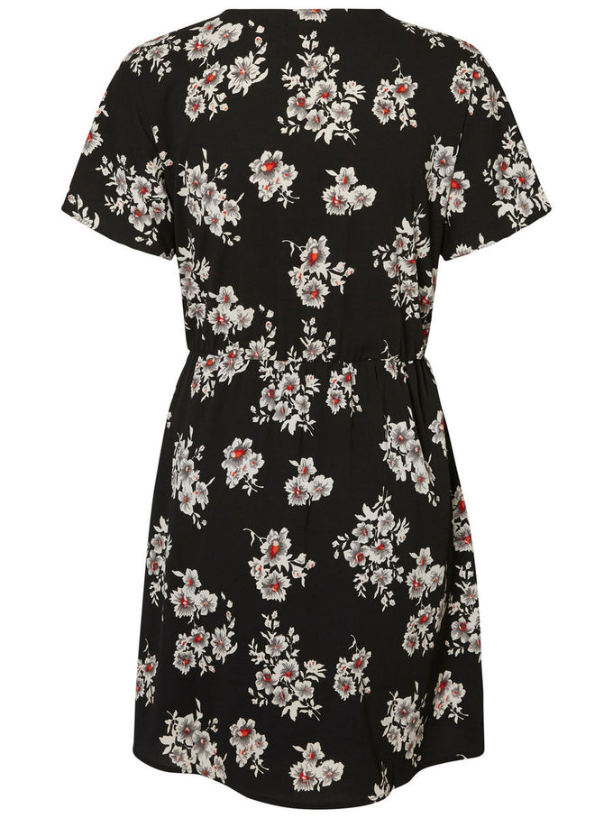 FLORAL PRINT WRAP DRESS BLACK