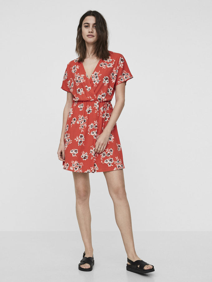 FLORAL PRINT WRAP DRESS GREANADINE