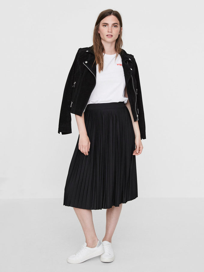 PLEATED JERSEY SKIRT BLACK