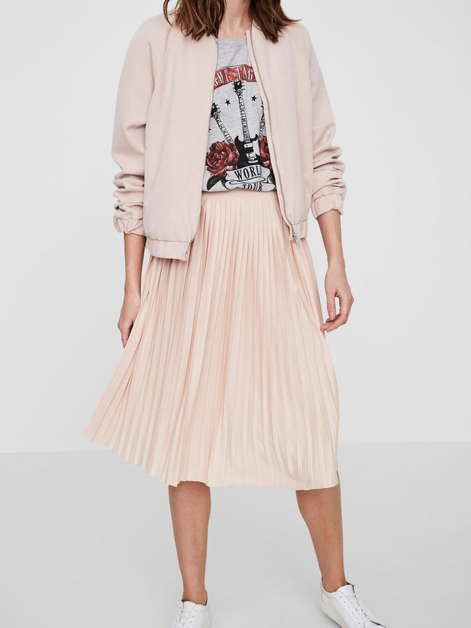 PLEATED JERSEY SKIRT HIBISCUS