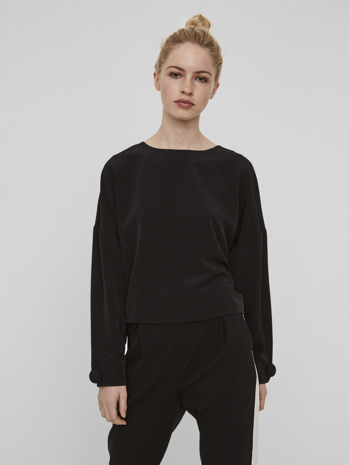 CROPPED LOOSE BLOUSE BLACK