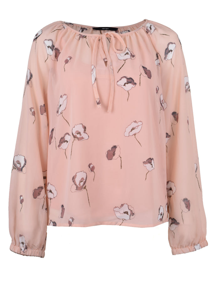 LONG SLEEVE SEE-THROUGH PRINTED BLOUSE ROSE CLOUD