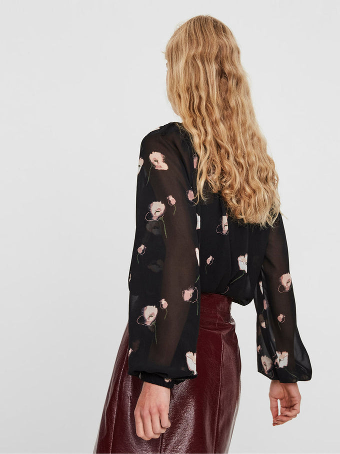 LONG SLEEVE SEE-THROUGH PRINTED BLOUSE BLACK