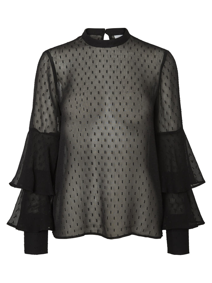 BELL SLEEVE SEE-THROUGH BLOUSE BLACK