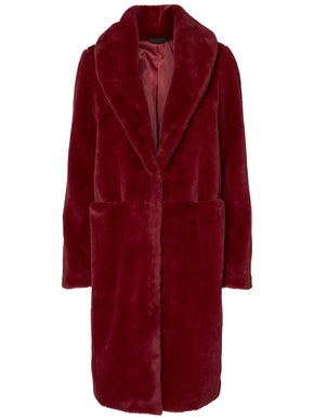 LONG RED FAUX-FUR JACKET