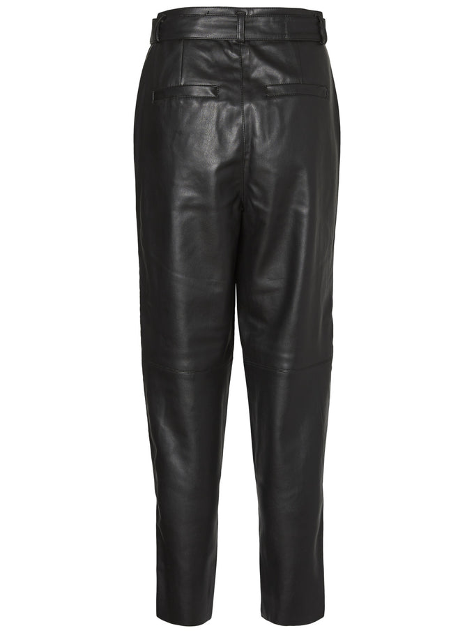 FAUX-LEATHER PANTS BLACK