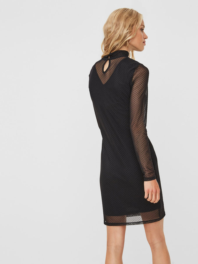 LONG SLEEVE DRESS WITH DOTS BLACK