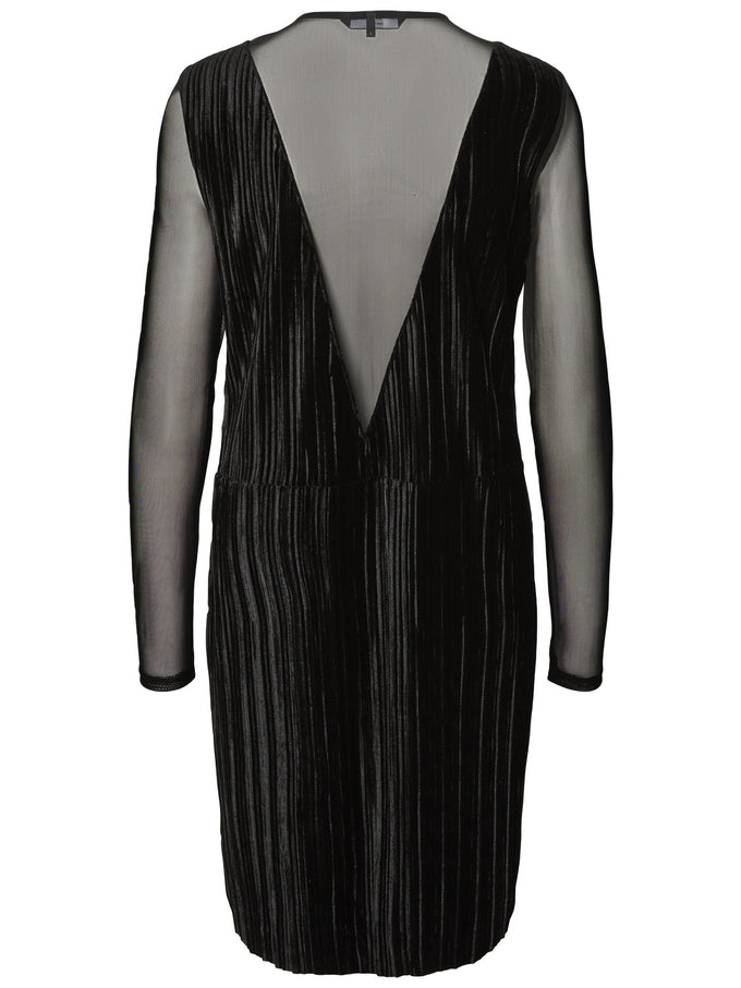PLEATED VELVET DRESS BLACK
